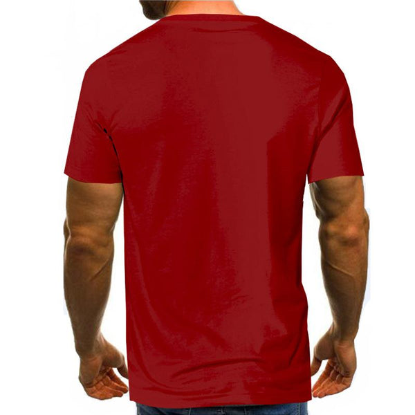 Plus Size Men's Polyester T-shirt - 3D Card Print Suit Round Neck 4 Colors