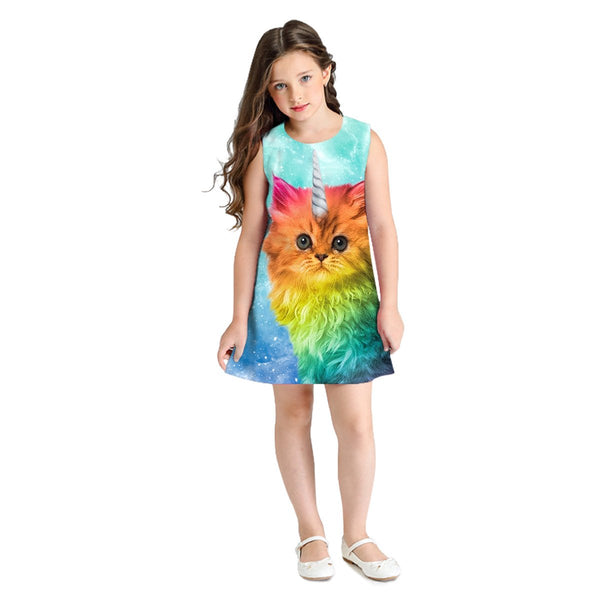 Kid's 3D Cat Print Sleeveless Round Neck Dress Girl Cute Princess