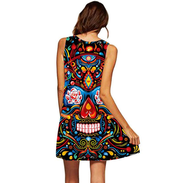 Women's 3D Printing Sleeveless Loose Mid-length Vest Skirt Red Nose