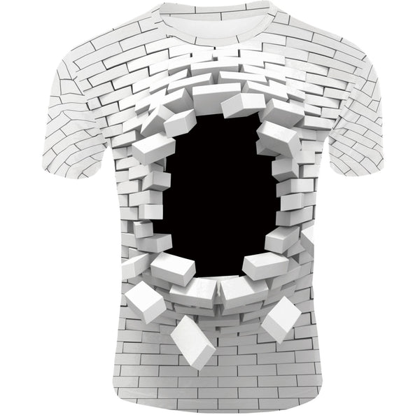 Men's 3D Print Creative Wall Element T-Shirt Short Sleeve Breathable Quick drying TM0201