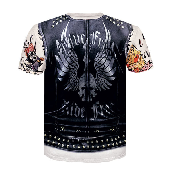 Men's Fake Two-piece 3D Print Short Sleeve T-Shirt 3476