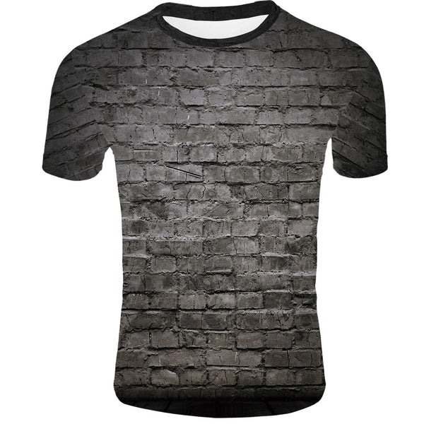 Men's 3D Print Creative Wall Element T-Shirt Short Sleeve Breathable Quick drying 8583