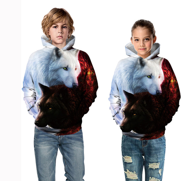 Kids' 3D Wolf Hoodies TZ 052 058