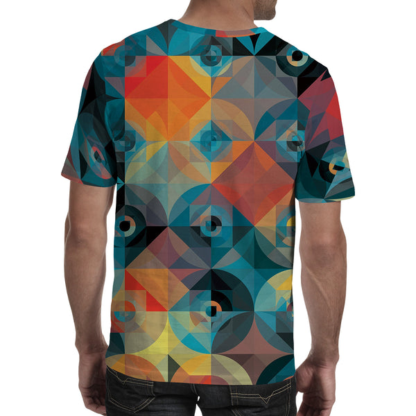 Men's 3D Polyester Printed T-Shirt Geometric TM0661