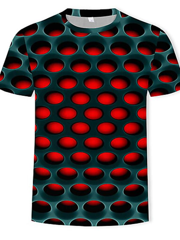 Men's Polyester T-shirt - 3D Print Round Neck