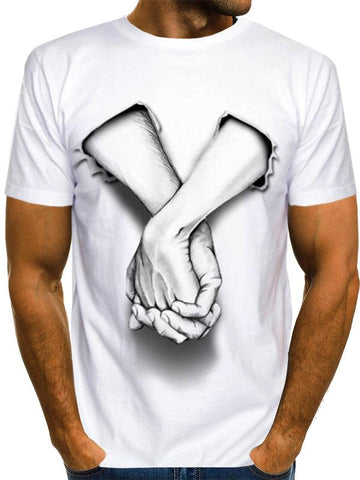 Men's Basic Plus Size Cool Funny Polyester T-shirt - 3D Hands Print Round Neck