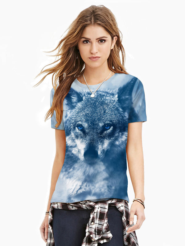 Women's Plus Size Wolf 3D Print T-shirt Round Neck Short Sleeve 8718
