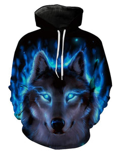 Men's and Women's Plus Size Long Sleeve Loose Hoodies - 3D Print Light Wolf