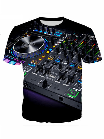 Men's 3D DJ Keyboard Print Summer Polyester Short Sleeve T-Shirt b1270