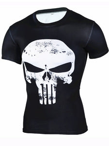 Men's Sports Fitness Short Sleeve T-Shirt 3D Print Skull Quick Dry Breathable