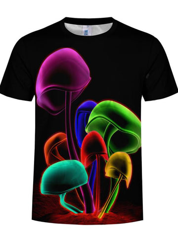 Men's Basic Plus Size Cool Funny Polyester T-shirt - 3D Mushroom Print Round Neck