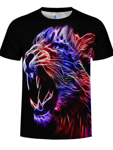 Light Effect Tiger 3D Digital Printing Summer Men's Round Neck Short-sleeved T-shirt