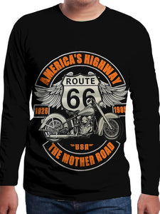 Men's 3D Motorcycle Printed Round Neck Long Sleeve T-Shirt 3765