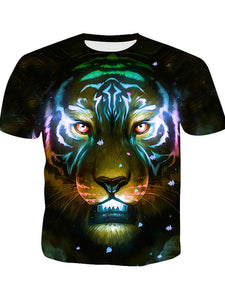 Men's Basic Polyester T-shirt - 3D Digital Colorful Animal Print Round Neck