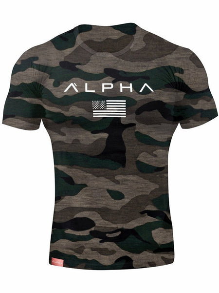 Men's Camouflage Slim Fit Breathable Round neck Cotton Short Sleeve