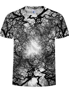 Men's Plus Size Cool Funny Polyester T-shirt - 3D Green Tree Print Round Neck