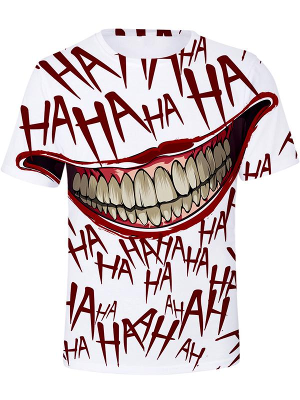 Men's Clown Polyester T-shirt - 3D Print Round Neck Mouth