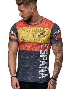 Men's Summer 3D Digital Print T-Shirt Short Sleeve Breathable Color Stitching 2060