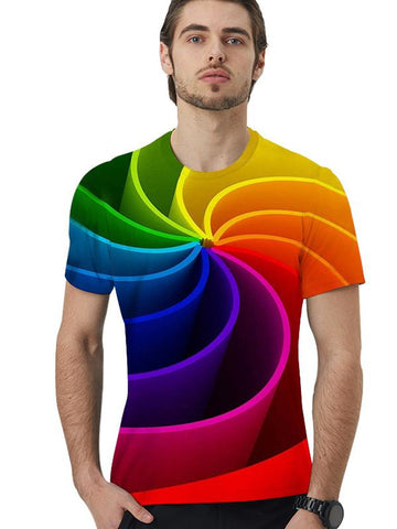 Men's Plus Size Colorful 3D Print Loose T-shirt Round Neck Short Sleeve xk-10135t