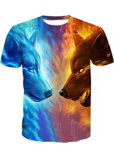 Men's Basic Polyester T-shirt - 3D Animal Print Round Neck Double Wolf