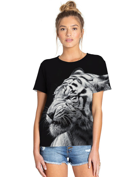 Women's 3D Tiger Slim Fit Print T-shirt Round Neck Short Sleeve 2533