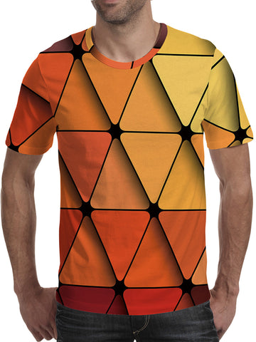 Men's 3D Polyester Printed T-Shirt Geometric TM0658