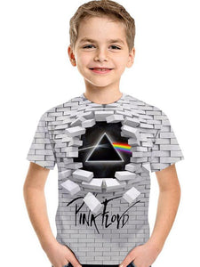 3D Digital Printing Kids' Clothing Short-sleeved T-shirt Round Neck For Girls And Boy Shirt Geometric