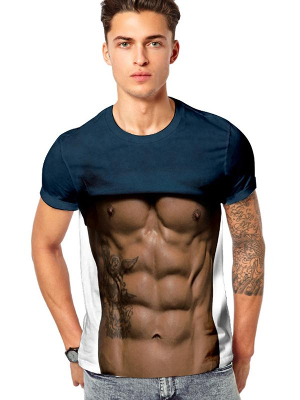 Men Funny 3D Muscle Print Fitness Elastic Short Sleeve T-shirt Hiphop Streetwear