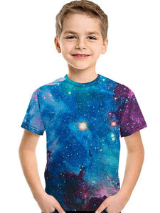 3D Digital Printing Kids' Clothing Short-sleeved T-shirt Round Neck For Girls And Boy Shirt Starry Sky - Chiclulu