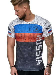 Men's Summer 3D Digital Print T-Shirt Short Sleeve Breathable Color Stitching 1426