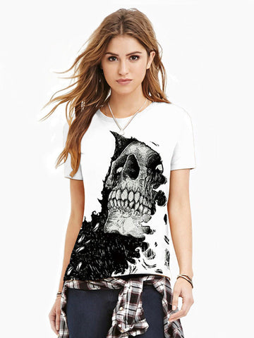 Women's Plus Size Skull 3D Print T-shirt Round Neck Short Sleeve 4141