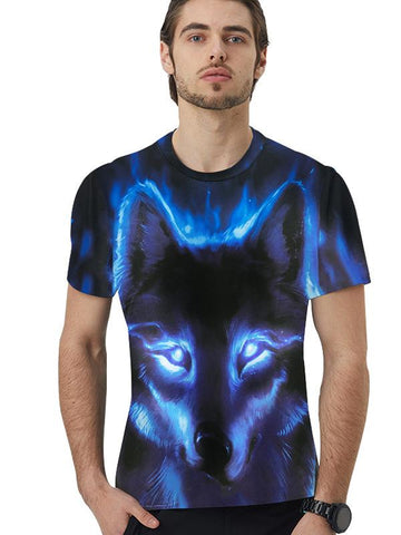Men's Basic Polyester T-shirt - 3D Animal Print Round Neck War Wolf