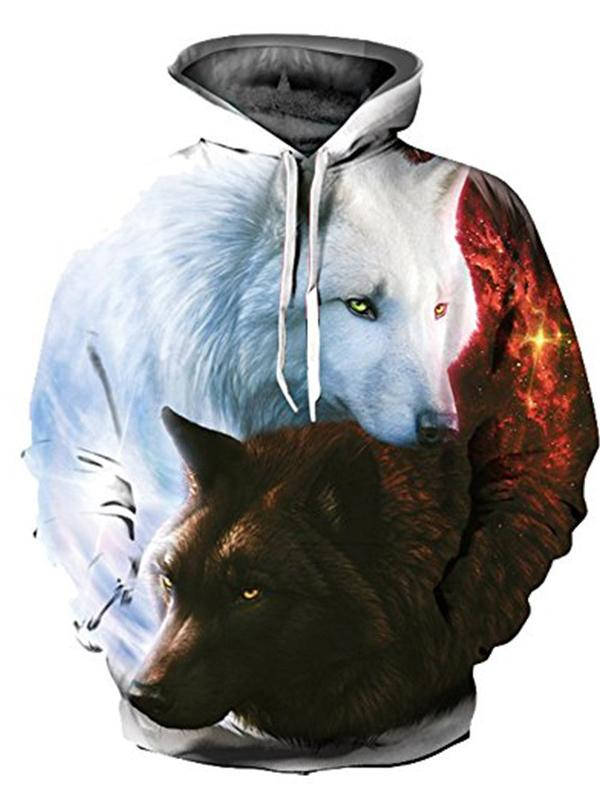 Men's and Women's Plus Size Long Sleeve Loose Hoodies - 3D Print White Wolf