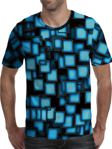 Men's 3D Polyester Printed T-Shirt Geometric TM0659