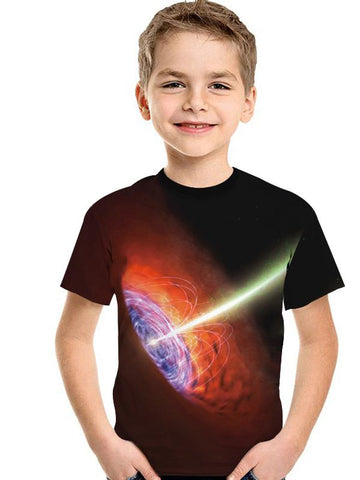 3D Digital Printing Kids' Clothing Short-sleeved T-shirt Round Neck For Girls And Boy Shirt LightXK10094RT