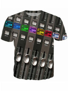 Men's 3D DJ Keyboard Print Summer Polyester Short Sleeve T-Shirt PH926