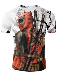 Men's Cool Funny Polyester T-shirt - 3D Animation Print Round Neck