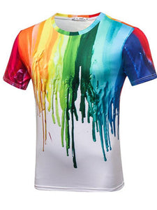 Men's Basic Polyester T-shirt - 3D Digital Colorful Pigment Print Round Neck