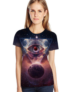 Women's Plus Size Eye 3D Print T-shirt Round Neck Short Sleeve 5305