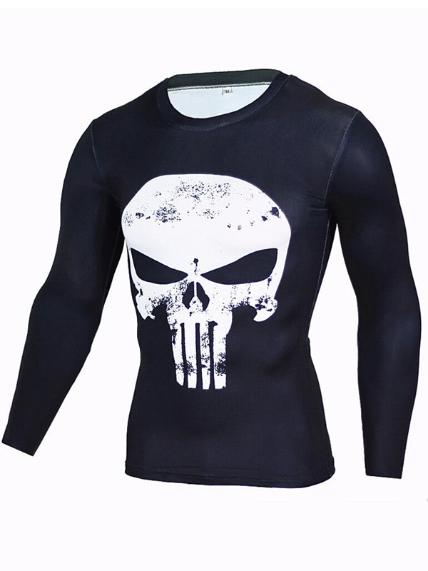 Men's Sports Fitness Long Sleeve T-Shirt 3D Print Superhero Quick Dry Breathable Skull