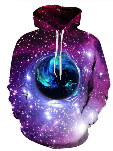 Men's and Women's Plus Size Long Sleeve Loose Hoodies - 3D Print Swirl