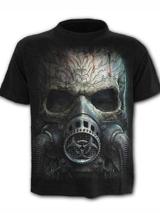 Men's O-neck Plus Size Cool Funny Polyester T-shirt - 3D Skull Print Round Neck 02