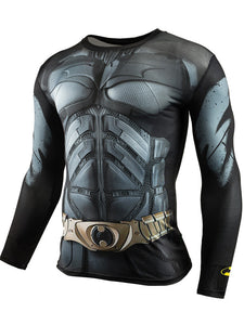 Men's Sports Fitness Long Sleeve T-Shirt 3D Print Superhero Quick Dry Breathable Bat