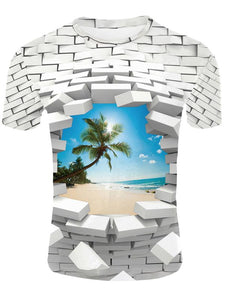 Men's 3D Print Creative Wall Element T-Shirt Short Sleeve Breathable Quick drying TM0422