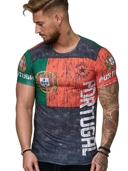 Men's Summer 3D Digital Print T-Shirt Short Sleeve Breathable Color Stitching 7301
