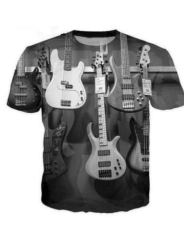Men's 3D Guitar Print Summer Polyester Short Sleeve T-Shirt PH368