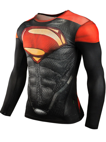 Men's Sports Fitness Long Sleeve T-Shirt 3D Print Superhero Quick Dry Breathable Super