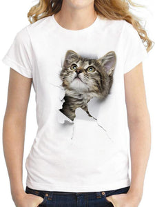Women's Modal 3D Gray Cat Print Short Sleeve