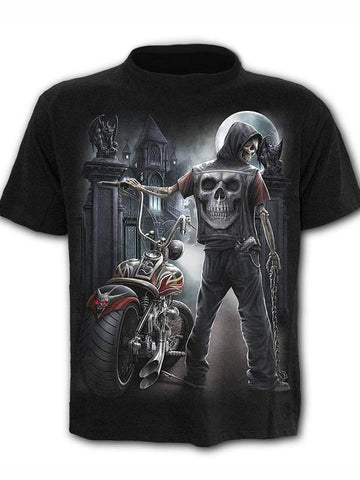 Men's O-neck Plus Size Cool Funny Polyester T-shirt - 3D Skull Print Round Neck 04
