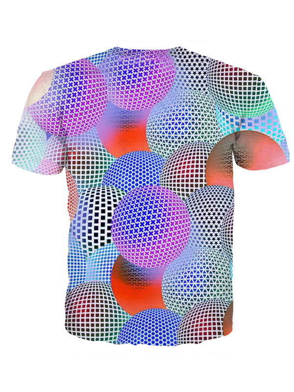 Women's Plus Size Ball 3D Print T-shirt Round Neck Short Sleeve 2561